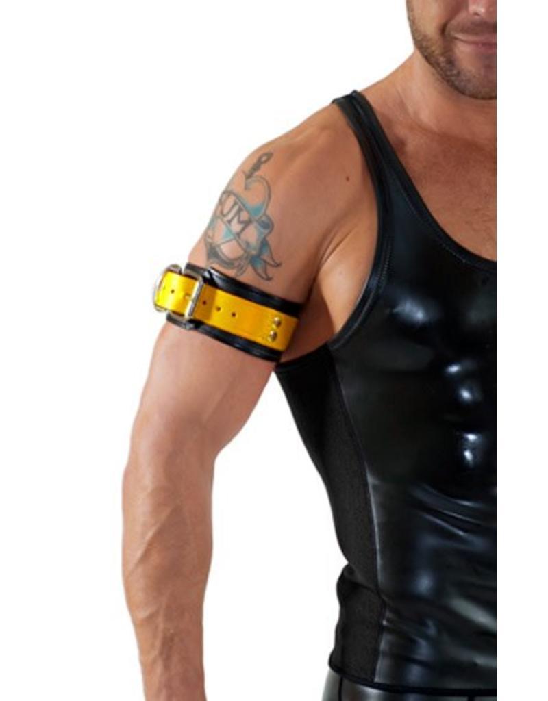 RoB Leder Bicepsband mit Schnalle, schwarz mit gelb