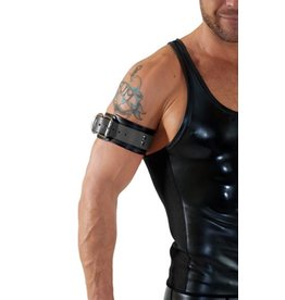 RoB Leather bicepsband with buckle, black and grey