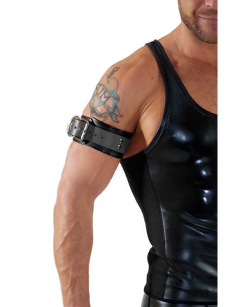 RoB Leren bicepsband met gesp, zwart met grijs