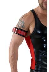 RoB Leder Bicepsband mit Schnalle, schwarz mit rot