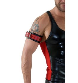 RoB Leather bicepsband with buckle, black and red