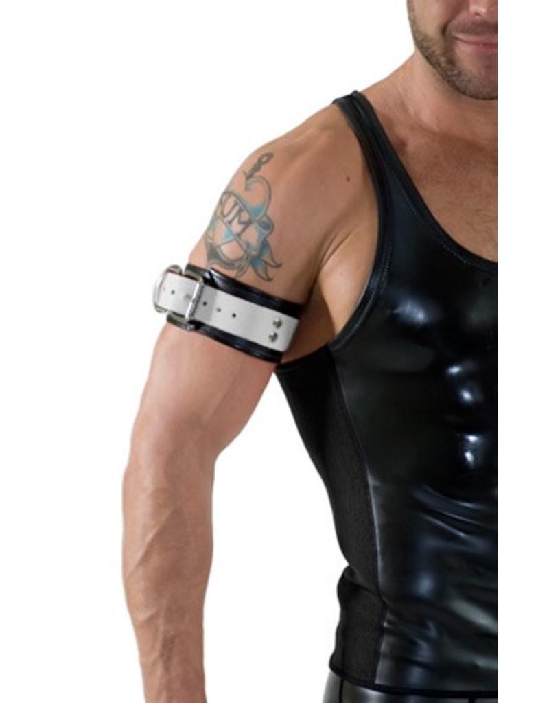 RoB Leren bicepsband met gesp, zwart met wit