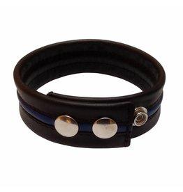 RoB Leder Bicepsband Schwarz/Blau mit Druckknöpfen