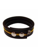 RoB Leren bicepsband zwart/geel met drukknopen