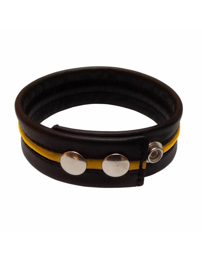 RoB Leder Bicepsband Schwarz/Gelb mit Druckknöpfen