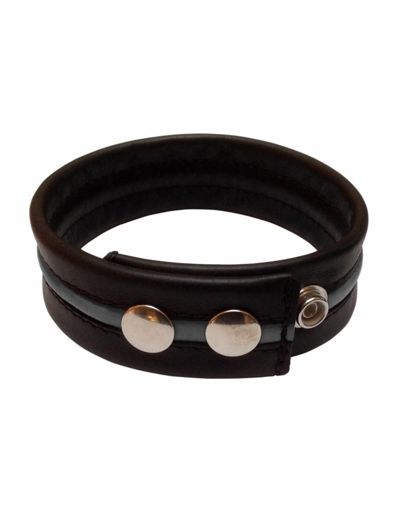 RoB Leather Bicepsband Black with Grey Piping and Press Studs
