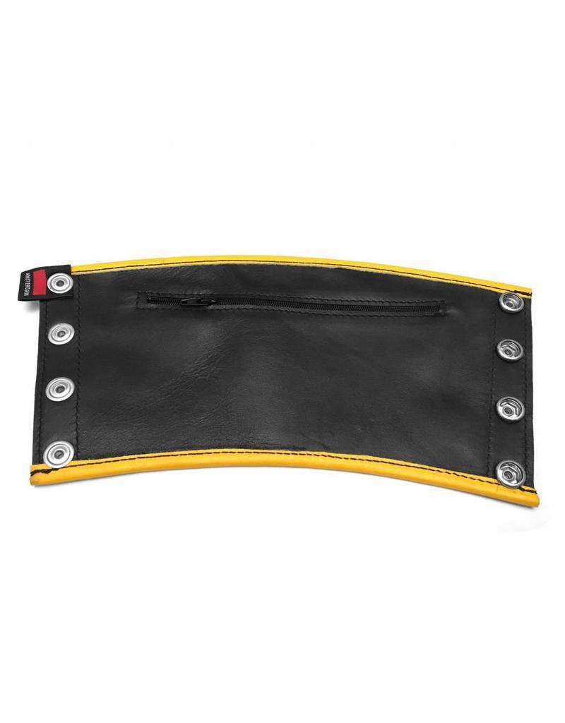 RoB Leren Gauntlet wrist wallet met gele bies