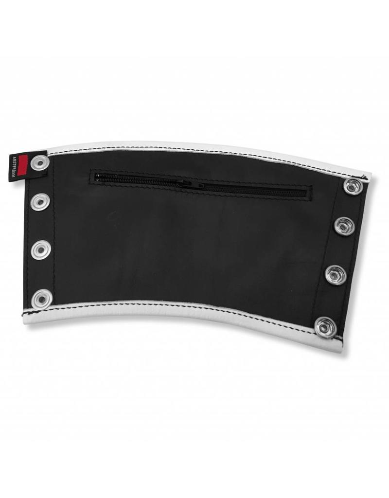 RoB Leder Gauntlet Geldbörse schwarz mit weißem Rand