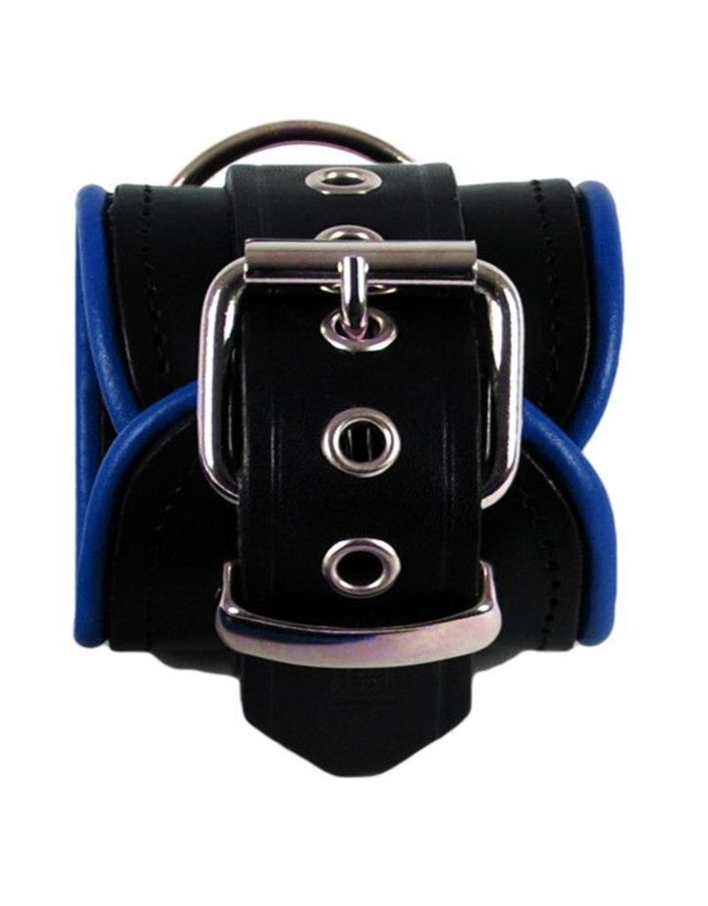 RoB Leather Ankle Restraints Blue Piping
