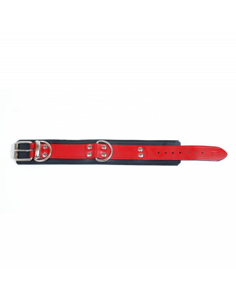 RoB Leder Fist Sklaven Halsband rot auf schwarz