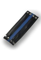 RoB Leren polsband met blauwe streep en geldvak