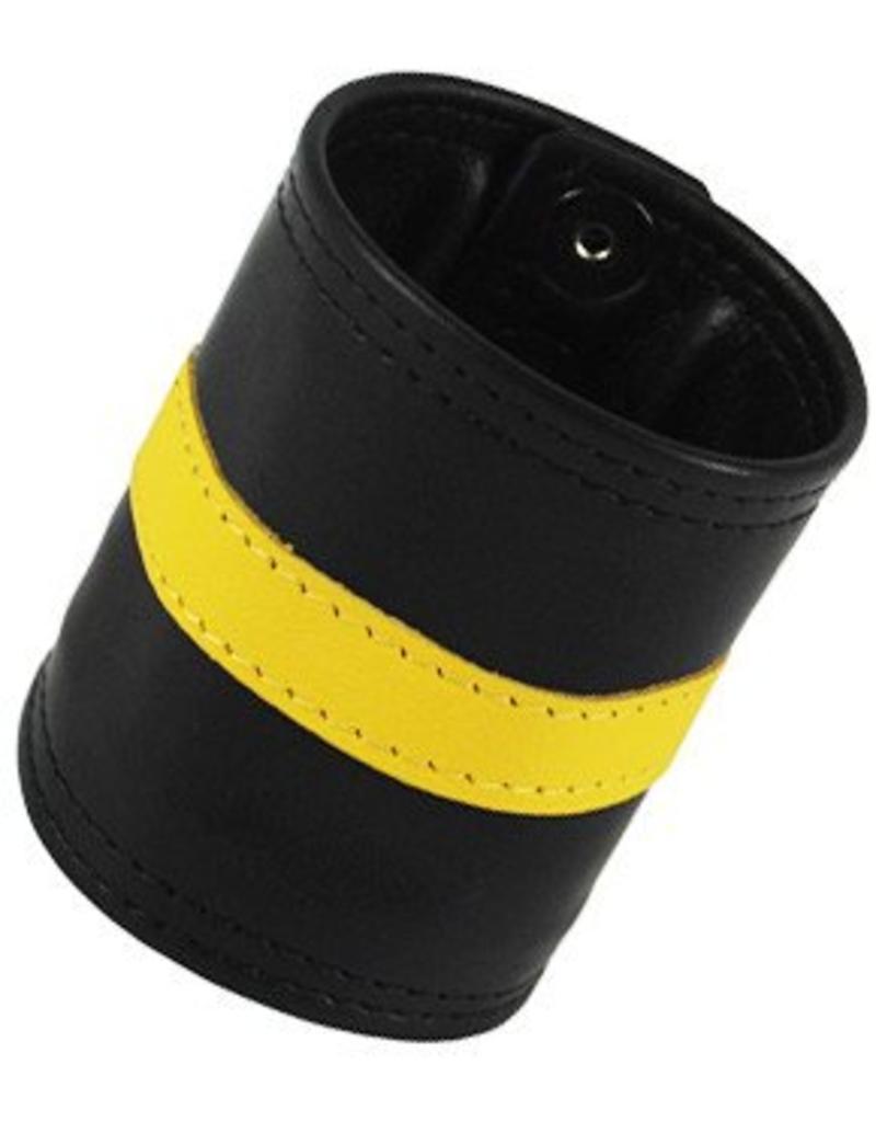 RoB Leren polsband met gele streep en geldvak