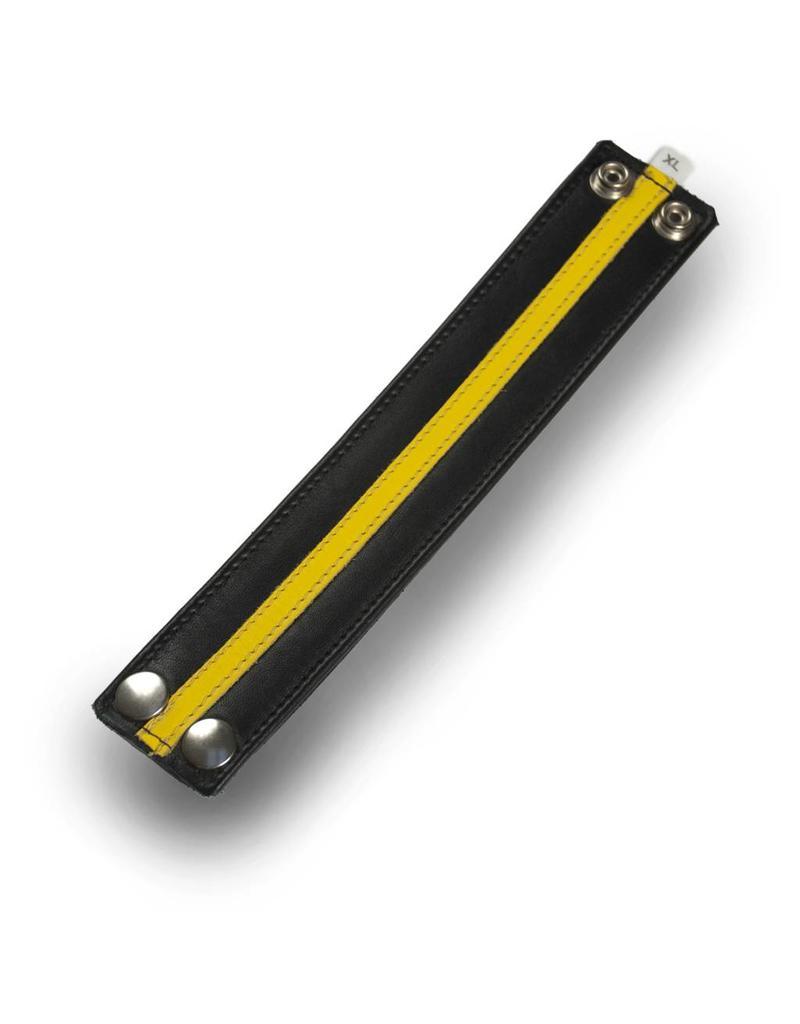 RoB Leren polsband met gele streep
