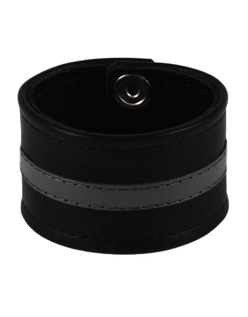 RoB Leather Wristband Grey Stripe