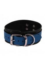 RoB Leather Slave Collar Blue on Black