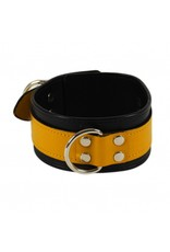 RoB Leder Sklaven Halsband gelb auf schwarz