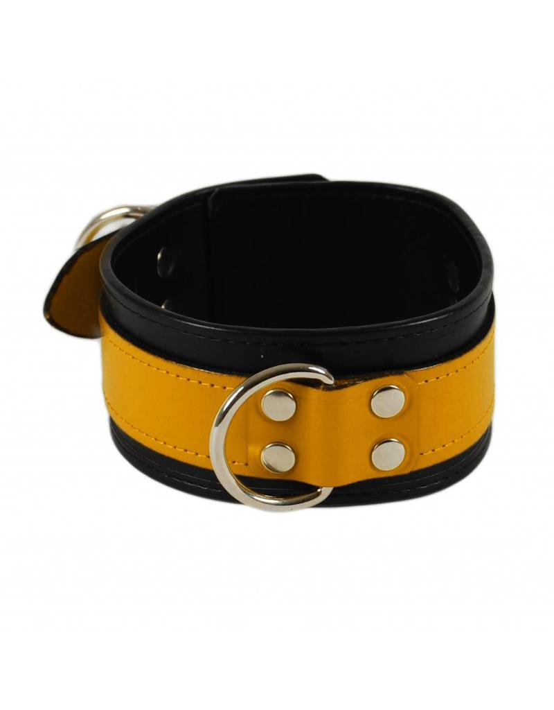 RoB Leren slavenhalsband geel op zwart