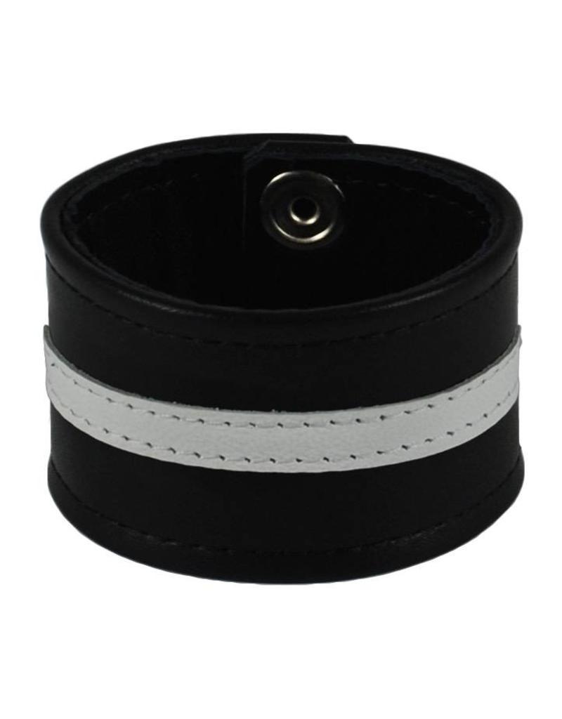 RoB Leren polsband met witte streep
