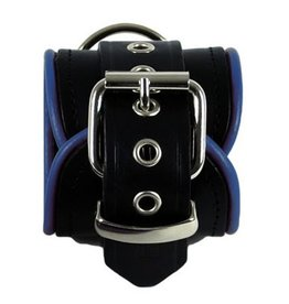 RoB Leather wrist restraints blue piping