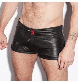 RoB Leren sport shorts met zwarte strepen