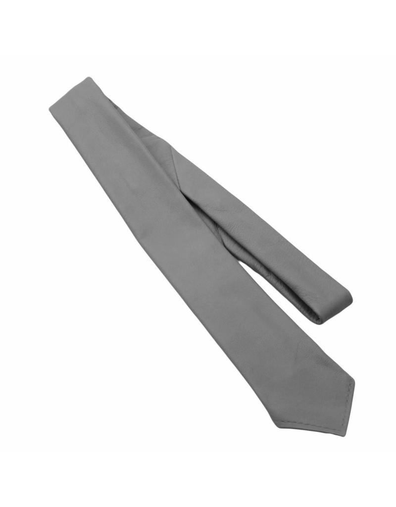 RoB Leren stropdas grijs