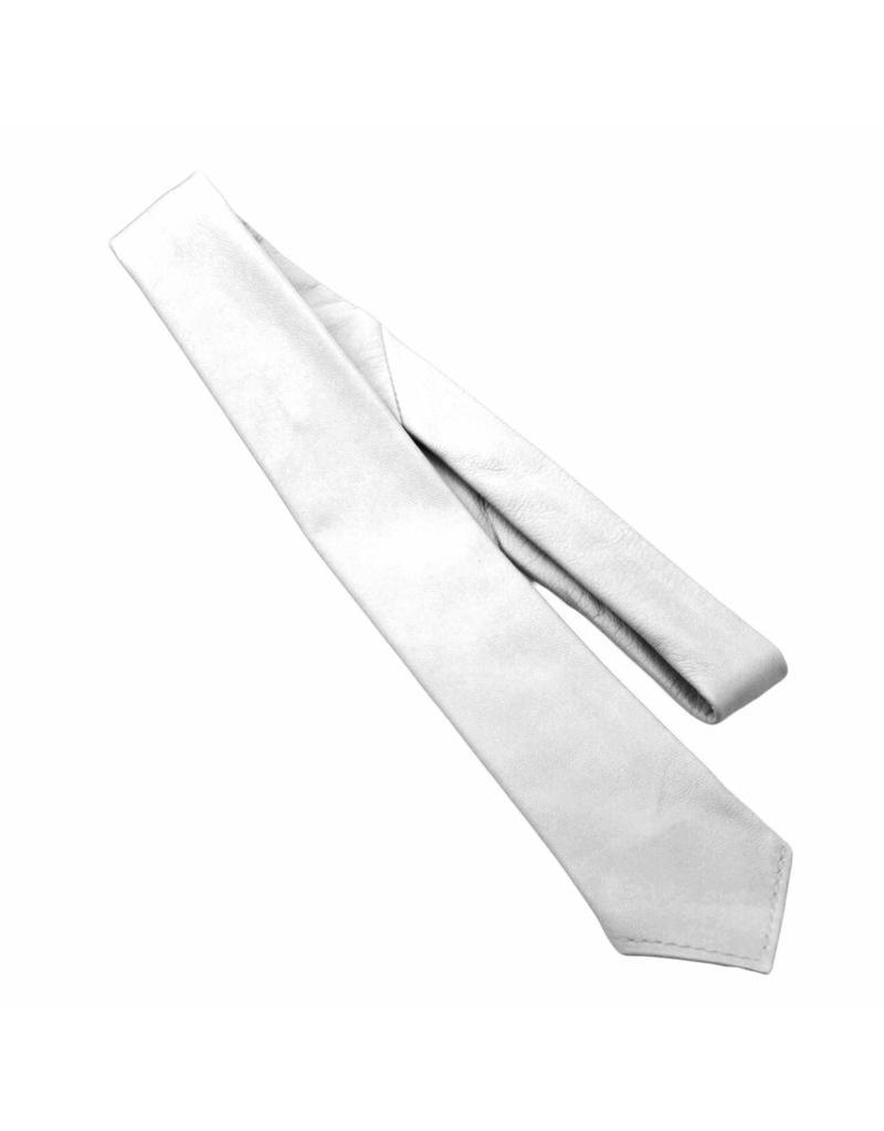 RoB Leren stropdas wit