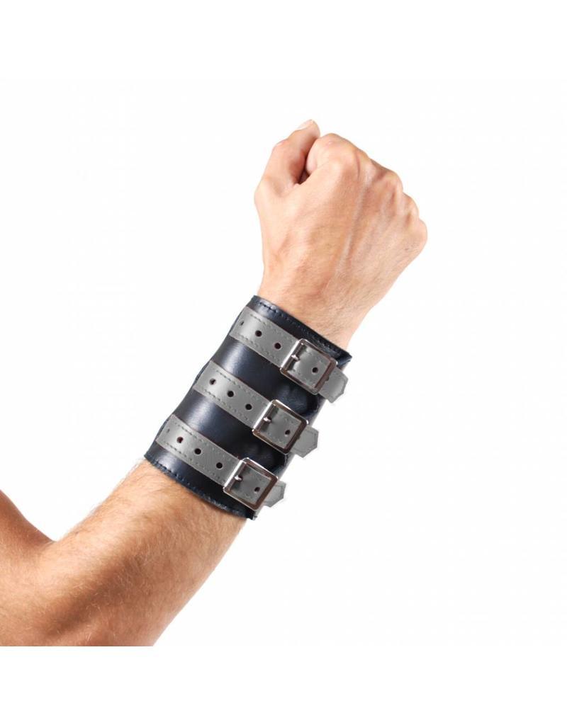 RoB Leren 3 gesp polsband zwart met grijs