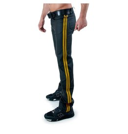 Full Zip Jeans with 2 yellow stripes