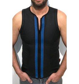 Vest met rits zwart met blauwe strepen