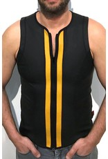 Vest with zip black with yellow panels