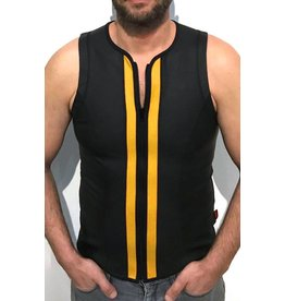 F-Wear Vest met rits zwart met gele strepen