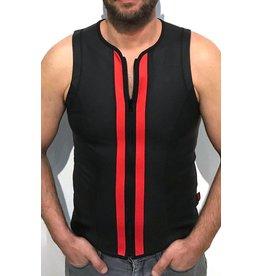 F-Wear Vest met rits zwart met rode strepen