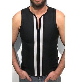F-Wear Vest met rits zwart met witte strepen