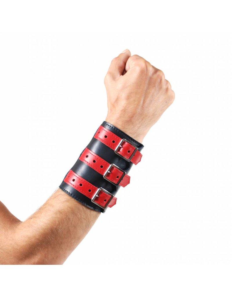 RoB Leren 3 gesp polsband zwart met rood