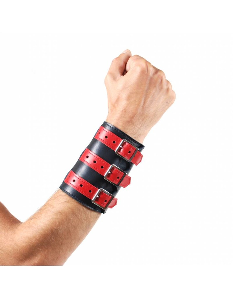 RoB Soft Leather 3 Buckled Wristband Black with Red Straps