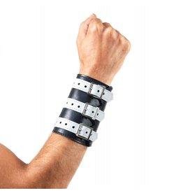 RoB 3-Schnallenarmband aus weichem Leder schwarz mit weiss