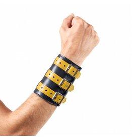 RoB 3-Schnallenarmband aus weichem Leder schwarz mit gelb