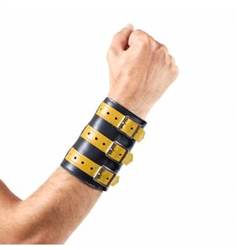RoB Soft Leather 3 Buckled Wristband Black with Yellow Straps