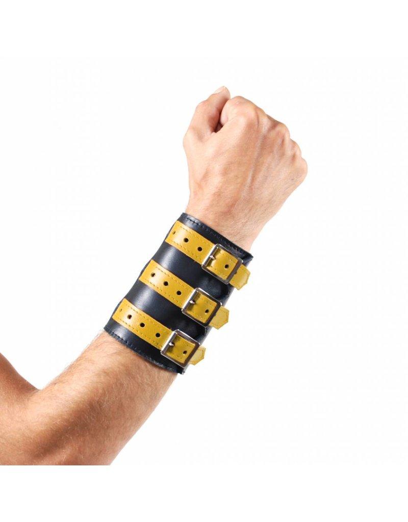 RoB Leren 3 gesp polsband zwart met geel