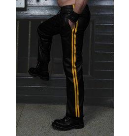 RoB Schwarze Trackpants aus weichem Leder mit gelben Streifen