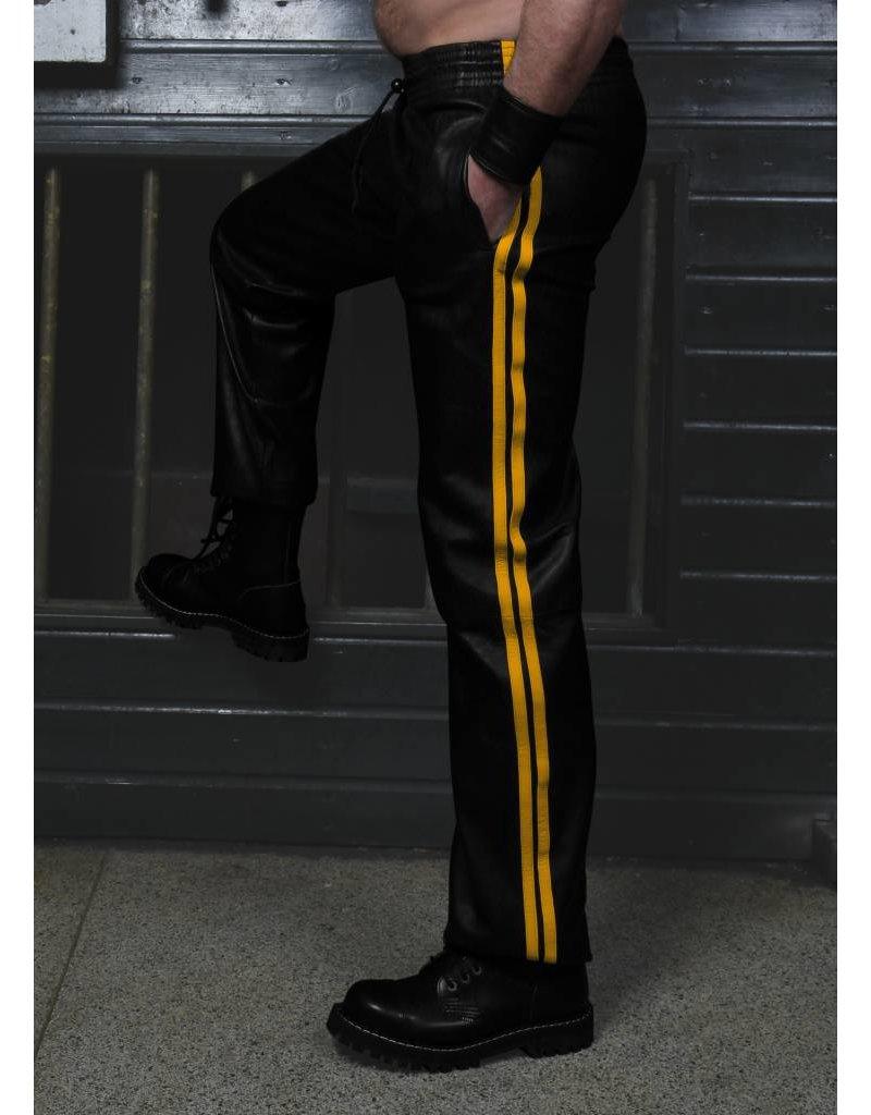 RoB Zacht leren trainingsbroek met gele strepen