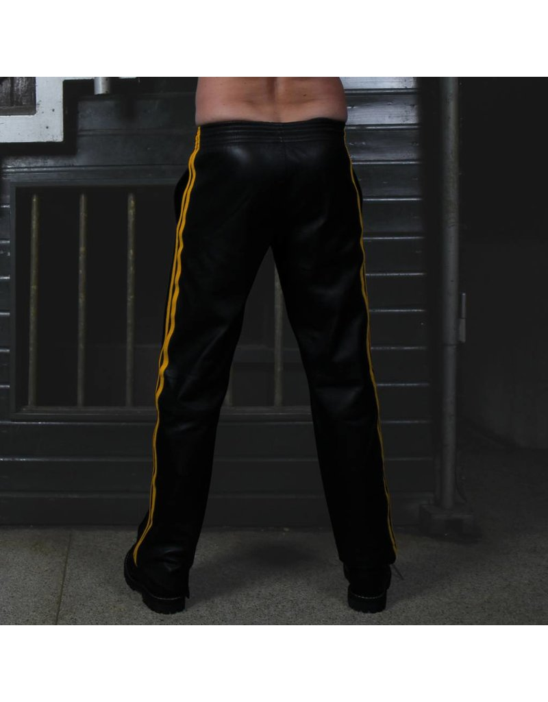 RoB Soft Leather Trackpants with Yellow Stripes