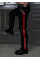 RoB Zacht leren trainingsbroek met rode strepen