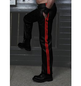 RoB Leather Trackpants with Red Stripes