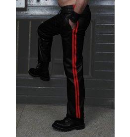 RoB Schwarze Trackpants aus weichem Leder mit roten Streifen