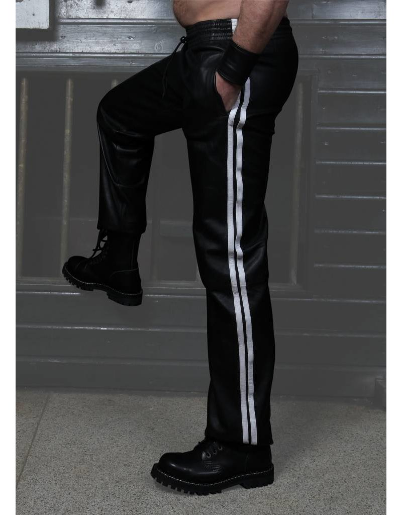 RoB Schwarze Trackpants aus weichem Leder mit weißen Streifen