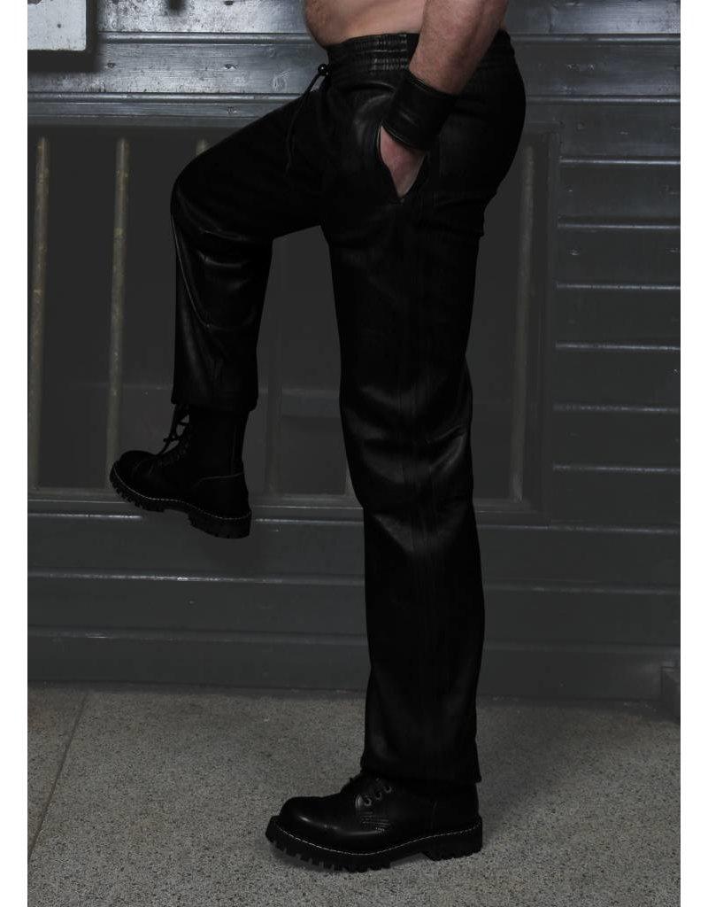 RoB Schwarze Trackpants aus weichem Leder mit schwarzen Streifen
