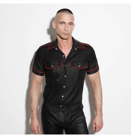 Policeshirt black with red piping