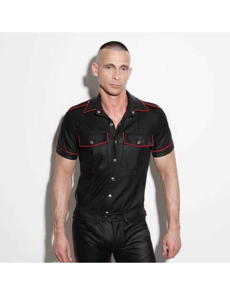 Uniformhemd zwart met rode bies