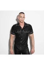 Polizei Uniformhemd schwarz mit weißem band